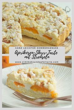 Light apricot tart with skyr and sprinkles - cinnamon biscuit and apple tart - Wonderfully fruity, light and delicious in summer: my simple recipe for an apricot and Skyr tart wi - Mini Desserts, Lemon Desserts, Fall Desserts, Tart Recipes, Baking Recipes, Dessert Recipes, Blueberry Cheesecake Bars, Cheesecake Recipes, Apricot Tart