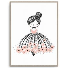 Oh, the stunning Flower Dress Dreamer. This modern illustration with a pop of pink is the perfect print to decorate...
