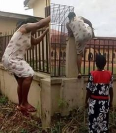 Viral photos of a mum climbing the fence to withdraw her child from school following fake news that officers were injecting pupils with Monkeypox virus http://ift.tt/2g494T3