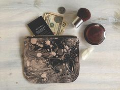 Leather coin purse, makeup bag, women's wallet in black marble, leather wallet, zip wallet, zip pouch, woman wallet