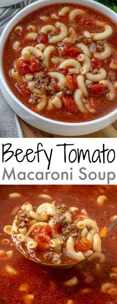Beefy Tomato Macaroni Soup This ground beef and tomato soup is pure comfort food just like Grandma used to make! It's easy, ready in 30 minutes and SO delicious! It's family friendly and affordable. Serve with a salad, sandwich or a chunk of crusty bread! Crock Pot Recipes, Easy Soup Recipes, Chili Recipes, Yummy Recipes, Cooking Recipes, Healthy Recipes, Ham Recipes, Recipies, Recipes With Tomato Soup