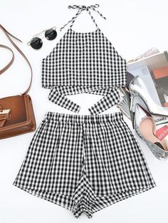 Halter Checked Top And Shorts Set - Checked - Checked S Summer Fashion Outfits, Cute Summer Outfits, Short Outfits, Classy Outfits, Pretty Outfits, Trendy Fashion, Girl Outfits, Cute Outfits, Beautiful Outfits