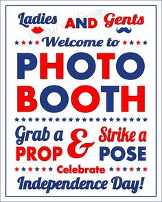 4th Of July Photo Booth Sign by HappyFiestaDesign