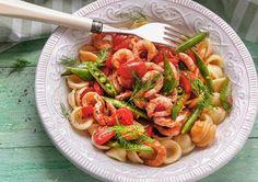 Chiliräkor med pasta 7 sp / portion Shrimp, Good Food, Food Porn, Lunch, Meat, Ethnic Recipes, Green Garden, Milkshakes, Smoothies