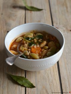 Butter bean, barley and kale soup