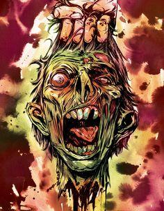 The Last Screaming Lamb : Photo Arte Horror, Horror Art, Zombie Head, Zombie Art, Dark Fantasy, Fantasy Art, Zombie Drawings, Zombie Tattoos, Arte Black