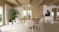 Drewniany minimalistyczny dom   Proj: Elementy   IH - Internity Home Wooden House, House In The Woods, Log Homes, Modern Rustic, Sweet Home, Dining Table, House Design, Living Room, Interior Design