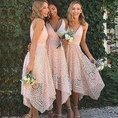 A-Line Asymmetrical V-Neck Pearl Pink Lace Homecoming/Bridesmaid/Prom Dress
