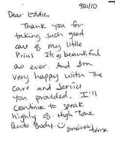 Teresa is a happy client that regularly uses our Detailing Services for her Toyota Prius. Here's a written thank-you card she sent a while ago.