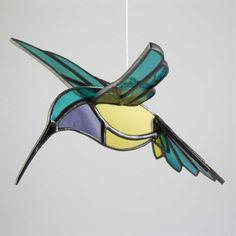 3d stained glass bird Hummingbird