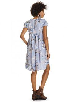 Kjole blå print 317M-430 Under The Sea Short Dress - dusty blue