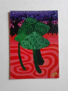Psychedelic Toadstools original ACEO miniature painting £5.00