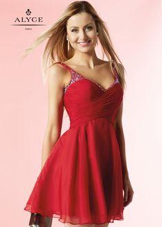 Alyce 4414 Short V-Neck Silky Chiffon Dress, Claret Red Homecoming Dresses