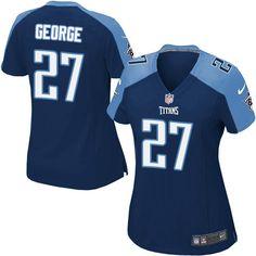 8fa31689854 Nike Elite Eddie George Navy Blue Women's Jersey - Tennessee Titans #27 NFL  Alternate Ray