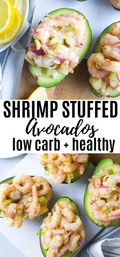 Shrimp Stuffed Avocados - Kathryn's Kitchen - - Creamy avocados are stuffed with a delicious and refreshing shrimp mixture! This Shrimp Stuffed Avocados recipe is healthy and so simple to make for any seafood lover! Grilling Recipes, Lunch Recipes, Dinner Recipes, Healthy Snacks, Healthy Eating, Healthy Recipes, Easy Avocado Recipes, Avocado Dishes, Breakfast Healthy
