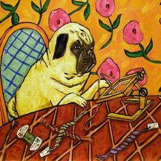 pug Doing Needlepoint animal dog art tile coaster