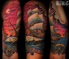 Some Quality Meat - Tattoo by kid Kros Navy Tattoos, Sunset Tattoos, Sailor Tattoos, Nautical Tattoos, Ocean Tattoos, Mermaid Tattoos, Tattoo Pirate, Pirate Ship Tattoos, Ship Tattoo Sleeves