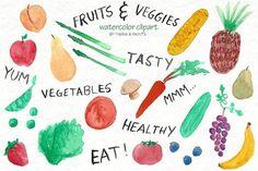 Watercolor Clip Art - Fruit, Veggies. Wedding Card Templates