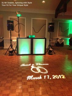 Signature Gobo Lighting and DJ Booth Lighting by DJ Bri Swatek at a Hudson Valley Wedding at Rolling Greens