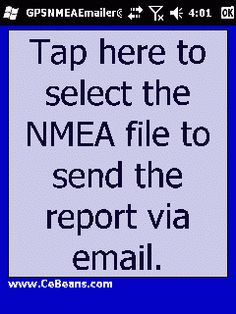 GPSNMEAEmailer©  This utility converts a NMEA GPS file into a text file and sends the text report via email template. Simply tap the button and the program will allow you to select the NMEA file. The program then converts the NMEA file into a text file and creates a blank email template with the text file attached.  http://www.cebeans.com/gpsnmeaemailerp.htm