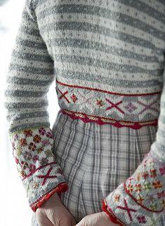 Knitting Patterns Free, Free Pattern, Sewing Patterns, Bolero Pattern, Fair Isle Knitting, Fashion Mode, Mode Vintage, Red And Grey, Pulls