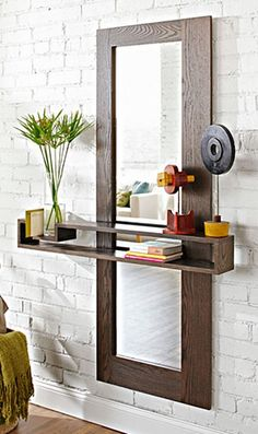 Simple and Ridiculous Ideas: Floating Shelves Ideas Home Decor floating shelf wall night stands.How To Build Floating Shelves Design small floating shelves ideas.How To Build Floating Shelves Design. Entry Mirror, Diy Mirror, Entryway Shelf, Closet Mirror, Wall Mirror, Narrow Entryway, Shelf Wall, Mirror Ideas, Decoration Hall