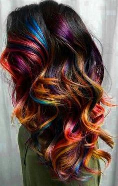 Beliebt Frisuren 50 Stunningly Styled Unicorn Hair Color Ideas To Stand Out From The Crowd Unicorn Hair Color, Ombre Hair Color, Cool Hair Color, Hidden Hair Color, Hair Color Tips, Amazing Hair Color, Hair Color Black, Oil Slick Hair Color, Peekaboo Hair Colors