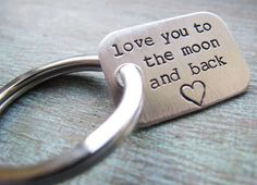 Sterling Silver Keychain Personalized Gift for Him Dad Grandpa Husband - love you to the moon and back