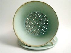 Ceramics by Sylph Baier at Studiopottery.co.uk - Green colander 19cm diam. 11cm high