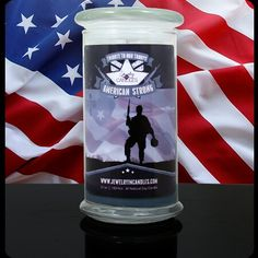 Our American Strong candle is a woody, earthy mix of vanilla and sandalwood, warmed with musk and a touch of patchouli for a calming and long lasting scent.    Infused with natural cedarwood, patchouli, and clover leaf essential oils.