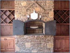 Add doors on pizza fireplace? Pizza Oven Fireplace, Stove Fireplace, Outdoor Stone Fireplaces, Rustic Fireplaces, Outdoor Oven, Outdoor Dining, Kountry Kitchen, Brick Bbq, Wood Burning Oven