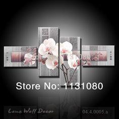No lona marco solo 4 unidades hermosas flores de pintura decoración del hogar wall art pictures para sala de estar envío gratis