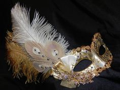 gold masquerade mask with peacock feathers | Shades of Gold and Champagne Feather Masquerade Mask
