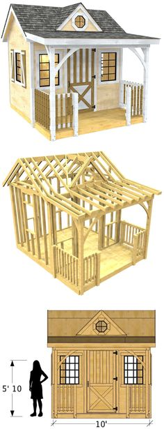 The Loretta shed plan is a cute design that is great for both a backyard shed or child's playhouse. Even makes for a nice she shed. #gardenplayhouse #buildachildrensplayhouse