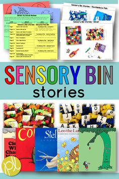 Sensory Bin Stories - hands-on exploration based on favorite read aloud books! Add these task cards and everyday classroom materials. #sensorybins #readlouds #taskcards