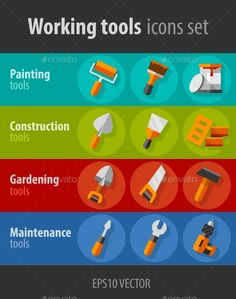 Working Tools For Construction and Maintenance (Vector EPS, CS, background, brick, brush, building, construct, construction, drill, equipment, flat, house, housekeeping, icon, industry, inventory, kit, maintenance, paint, profession, renovation, repair, screwdriver, set, shovel, sign, stock, tin, tool, vector, work, working)