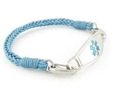 The River braided medical ID bracelets are hand woven using an aqua colored thin nylon thread. #medicalalert #medicalidbracelet #medicalalertjewelry Diabetic Bracelets, Medical Id Bracelets, Woven Bracelets, Leather Bracelets, Aqua Color, Bracelet Sizes, Turquoise Bracelet, Braids, River