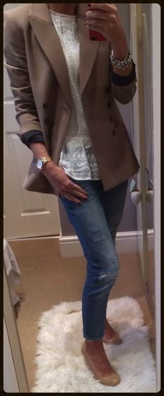 Embroidered blouse with distressed jeans & double breasted brown/camel blazer. Swap in tan tights/denim to dress it up for work.