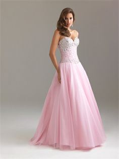 Gorgeous Ball Gown Beaded Dropped Waist Tulle Taffeta Prom Dress PD1002 www.homecomingstore.com