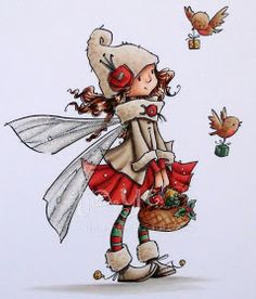 Stampin Fluffnstuff: On the Wings of Love - - Stampin Fluffnstuff: On the Wings of Love Zwerge/Feen Stampin Fluffnstuff: Auf den Flügeln der Liebe Christmas Drawing, Christmas Paintings, Christmas Art, Elf Drawings, Cute Drawings, Whimsy Stamps, Digi Stamps, Fantasy Kunst, Fantasy Art