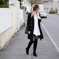 Get this look: http://lb.nu/look/8635783  More looks by Alyssa Sc: http://lb.nu/thisisaly  Items in this look:  Zara Military Coat, Zara Overknee Boots, Zara Popelin Dress, Hieleven Bucket Bag   #chic #minimal #street #fashion #streetstyle #militarycoat #