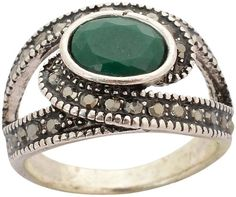 Fashion Green Onyx Silver Plated Wedding Ring for Women, Beautiful, Bolly Wood Style - Waama Jewels Finger ring