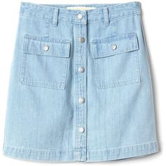 Gap Women The Archive Re Issue Patch Pocket Denim Skirt (630 MXN) ❤ liked on Polyvore featuring skirts, bottoms, blue a line skirt, blue flared skirt, a line button skirt, denim skirt and flare skirts