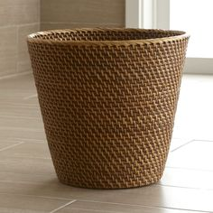 Sedona Honey Tapered Waste Basket/Trash Can - Crate and Barrel
