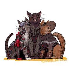 Blackwatch cats (Genji, Gabe, McCree)