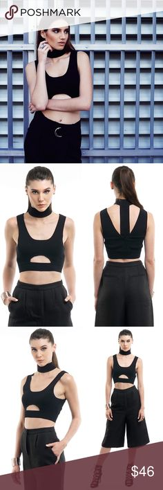BLACK CHOKER NECK CROP TOP Edgy knitted sleeveless crop top with a high-rise choker styled neckline. Rock this crop top for edgy look and can be easily worn with anything.  Black  Sleeveless  Choker neckline crop top Front cutouts  53% Rayon 47% Nylon. ALL PICTURES TAKEN EXCLUSIVELY FOR STYLE LINK MIAMI AND SHOWING ACTUAL PRODUCTS. PRICE FIRM. Style Link Miami Tops Crop Tops