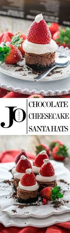 Let these Chocolate Cheesecake Santa Hats take you on a taste bud adventure of rich and decadent double chocolate cheesecake bites topped with whipped cream and strawberries.