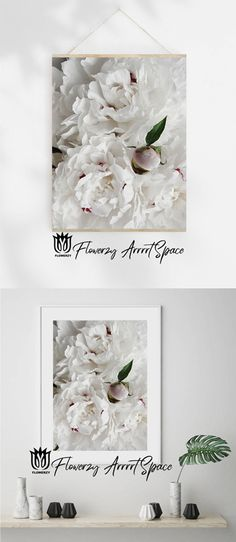 White Peonies, White Flowers, Kitchen Wall Art, Kitchen Decor, Bedroom Decor, Wall Decor, New Media Art, Big Photo, White Colors