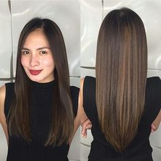 long straight dark brown hair with subtle balayage