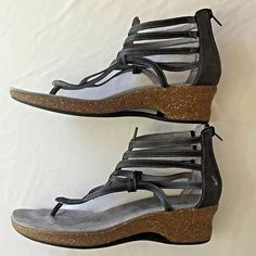 b8cb750d9 Size 10 Ahnu Sandals Womens Black Gladiator Shoes Back Zip Strappy Low Heel   Ahnu  Gladiator